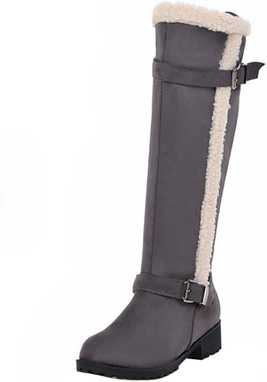 FANIMILA Women Fashion Low Heel Long Boots with Zipper