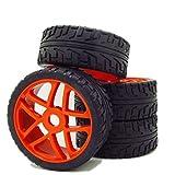 17mm Plastic Rubber Tires + 10 Spoke Hub Wheel Rim for RC 1:8 Off-Road Car Pack of 4
