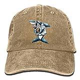 Hoswee Unisexo Gorras de béisbol/Sombrero, Sharks in Suits Holding Things Denim Hat Adjustable Male Stretch Baseball Cap