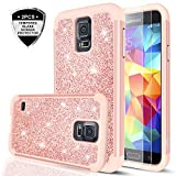Galaxy S5 Glitter Case with Tempered Glass Screen Protector, LeYi Bling Cute Girls Women Design [PC Silicone Leather] Dual Layer Heavy Duty Protective Phone Case for Samsung Galaxy S5 TP (Rose Gold)