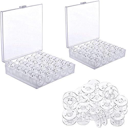 50 Piezas Máquina de Coser de Plástico Transparente, Bobinas de Plástico para Máquinas de Coser, Caja de Almacenamiento de Carretes de Bobinas, Adecuada para Máquinas de Coser