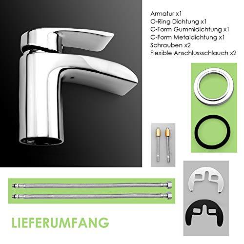 Design Kurzer Wasserfall Waschtischarmatur Einhebelmischer-Waschtischbatterie Bad Armatur Wasserhahn für Waschbecken - 2