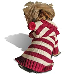 red and white striped dog jumper