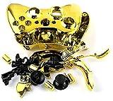 Einuz Reemplazo de carcasa completa de cromo para Xbox 360 Controlador inalámbrico de piel compatible con carcasa protectora de carcasa incluye destornillador t8 t6 (dorado)