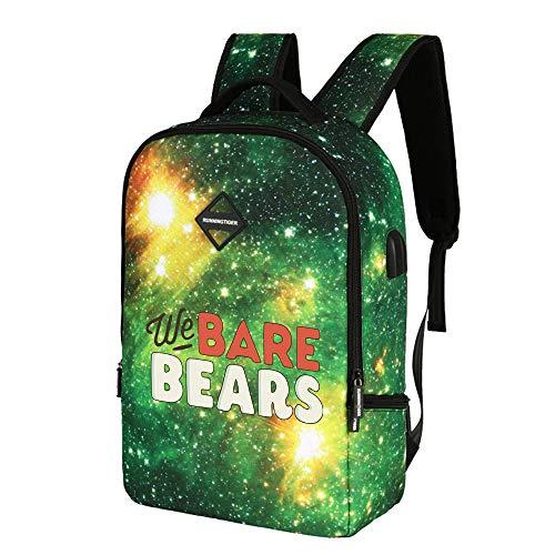 We Bare Bears Mochila Casual Bolsa Mochila taleguilla de la Escuela de Moda púrpura Exquisito de Gran Capacidad Casual Hombre y Mujeres Estudiante Deportes Salvaje para Mujeres y Hombres