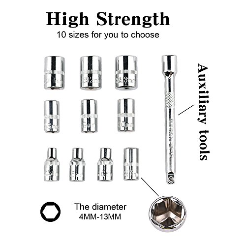 Egofine 12pcs 1/4 Inch Ratchet Socket Wrench Set, Drive Socket Set with 10 Sockets 4-13mm and 2 Way Quick Released Ratchet Handle and Extension Bar