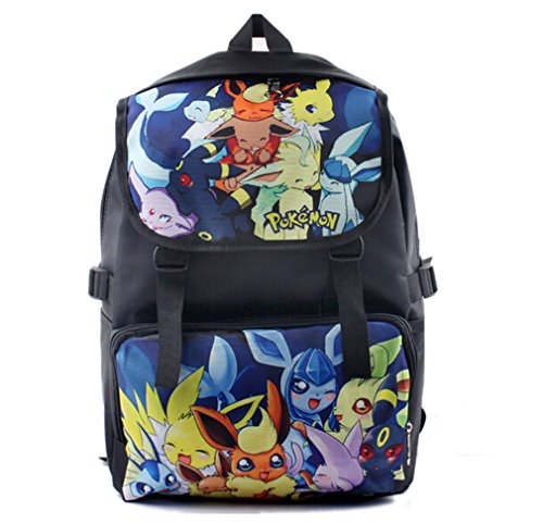 Bonamana Cartoon Pokemon Pikachu Backpack Anime School Bag Rucksack for Teens (B)