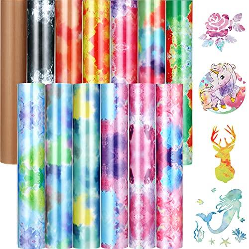 12 Sheets Tie Dye Heat Transfer Vinyl 12 x 10 Inch Watercolor Vinyl Bundle Rainbow Color Clouds Patterned Vinyl Bundle HTV Transfer Iron-on Vinyl with Heat Press Sheet for DIY Crafts (Bright Colors)