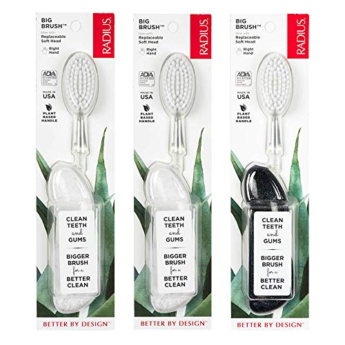 RADIUS Toothbrush Big Brush, Right Hand - 3 Pack in Assorted Colors, BPA Free and ADA Accepted, Designed to Improve Gum Health and Reduce The Risk of Gum Disease