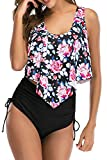 papasgix High Waisted Bikini Swimsuits for Women Retro Ruffled Flounce Swimwear Two Piece Tankini Bathing Suits Pink Flower Medium