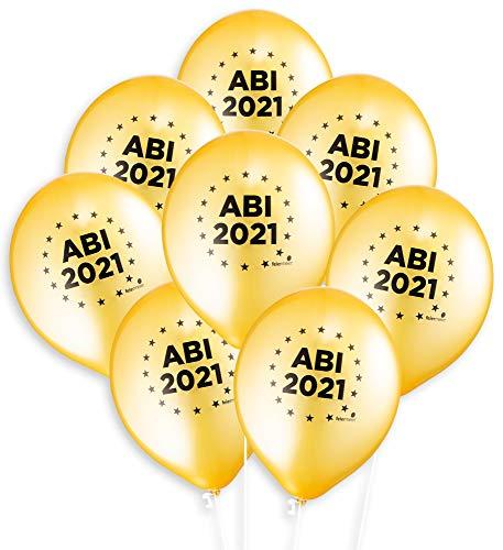 feiermeier® Latexballons Abi 2021 ca.33cm Durchmesser 8 Stück Gold Helium Ballongas geeignet Schulabschluss nur mit Noogel in die Woond