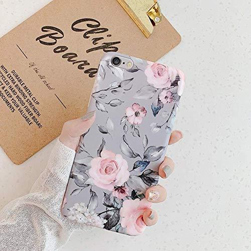 Uposao Kompatibel mit iPhone 7 / iPhone 8 4.7 Hülle Crystal Case Schutzhülle mit Muster Motiv Blumen Blätter Weiche TPU Silikon Slim Stoßfest Ultra Dünn Handyhülle Backcover Tasche,Grau Blume