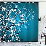 ABAKUHAUS japonés Cortina de Baño, Patrón Sakura Bloom, Material Resistente al Agua Durable Estampa Digital, 175 x 200 cm, Gasolina Azul pálido Rosa