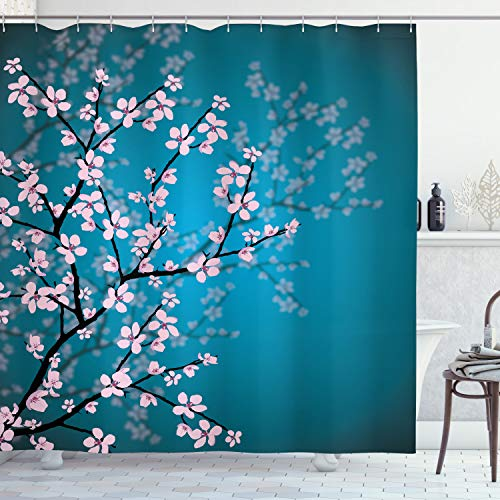 Ambesonne Japanese Shower Curtain, Spring Season Culture Sakura Bloom Design Marine Toned Ombre Background, Cloth Fabric Bathroom Decor Set with Hooks, 70' Long, Blue Pink