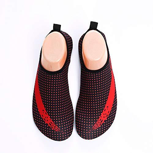 LIUXING-Home Beach Shoes Zapatos Blandos para Hombres y Mujeres, Zapatos sin Deslizamiento, Calzado Descalzo Resistente al Corte. Water Sports Shoes (Color : Red, Size : 43)
