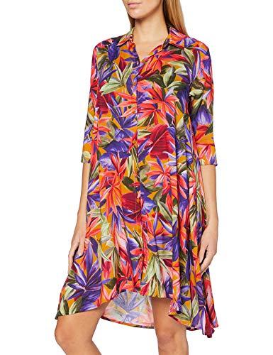 Emporio Armani Swimwear Damen Shirt Dress Beachwear Holiday Getaway Strandkleid, Mehrfarbig (Stampato Giungla 09372), 36 (Herstellergröße: S)
