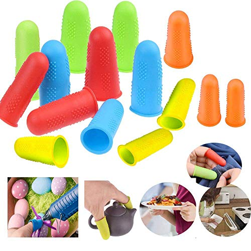 12pcs 4 Sets(S/M/L1set) Silicone Hot Glue Gun Finger Protectors Covers Caps Best for Hot Glue Gun Wax Rosin Resin Honey Adhesives Scrapbooking Sewing Crafts Ironing Embroidery Needlework(Random Color)