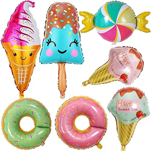 Globos de helado en forma de rosquilla, para verano, decoración de cumpleaños, para fiestas de verano