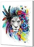 WISKALON Pintar por Numeros para Adultos Niños con Pinceles y Pinturas Regalos de Decoración del Hogar - LOR Colorida Mariposa Pluma León 16X20 Pulgadas con Marco de Madera