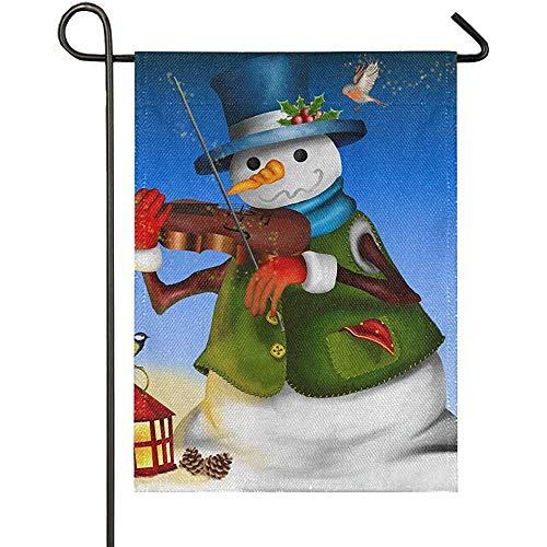 Schneemann Violine Laterne Sackleinen Garten FlaggeWillkommen Winter Weihnachten Yard Flags, rustikale Outdoor-Banner für Weihnachtsdekorationen