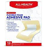 All Health Flexible Foam Adhesive Pad, 10 Pads, 3.5 in x 4.5 in, 8 Hour Protection | Waterproof Bandage for Covering Wounds