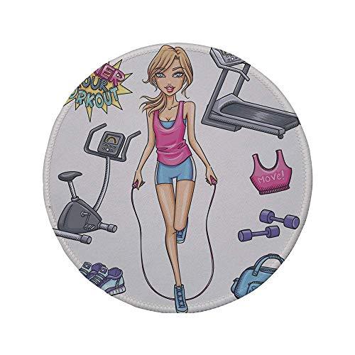 Rutschfreies Gummi-rundes Mauspad, Fitness, schönes junges Cartoon-Mädchen, das im Fitnessstudio-Laufband-Outfits trainiert und dekorativ zitiert, mehrfarbig, 7,9 'x 7,9' x3MM