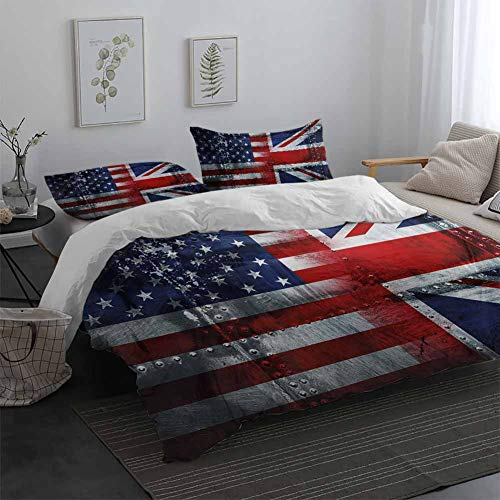 Union Jack Light-Weight Microfiber Duvet Cover Set Alliance Togetherness Theme Composition of UK and USA Flags Vintage Breathable & Cooling Navy Blue Red White Queen