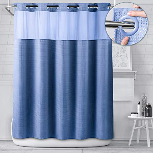 "HYGGEISM No Hook Shower Curtain Ringless with Window for Bathroom, Grommet Design Sheer Top Hangerless Hook Free 71""x74"" Long Hotel Style Waffle Fabric, Blue"