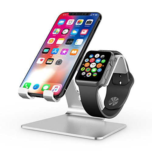 OMOTON 2 in 1 Supporto per Apple Watch, Stand Tavolo per iPhone e iWatch, Dock per Apple Watch 5/4/3/2/1(38 mm / 40 mm / 42 mm / 44 mm), Stand Compatibile con iPhone 11 PRO, XS Max, XS, X, XR, Argento
