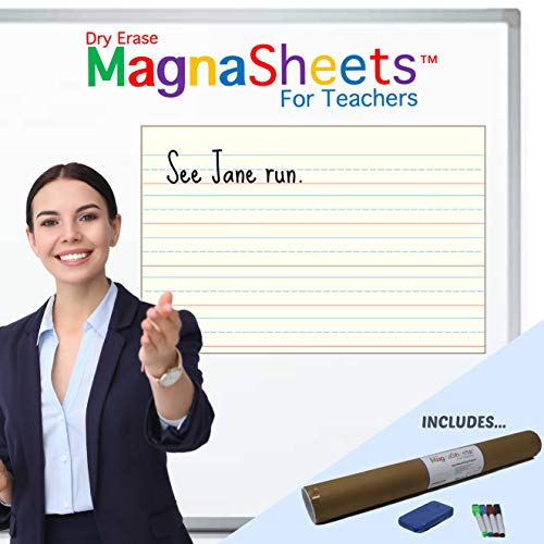"""Magnasheets Jumbo Sized (28""""W x 22""""H) Dry Erase Magnetic Student Handwriting Paper 