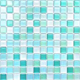 VANCORE 【4枚】 モザイクタイルシール キッチン リメイクシート タイルステッカー リフォーム 3D防水 はがせる壁紙 青