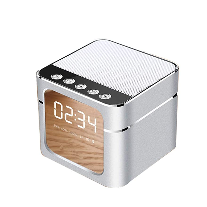 仮説囲むスプーン正方形ワイヤレス bluetooth ミラースピーカー、金属スマート目覚まし時計5w スピーカー4.1 ブルートゥース電話電源オンディスプレイ21/24 ディスプレイ,White