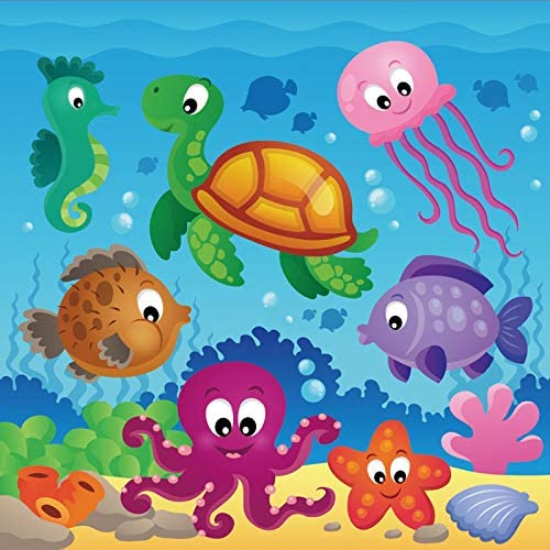 8x12 FT Fish Vinyl Photography Background Backdrops,Cartoon Style Smiling Female Goldfish with Plump Lips Underwater Comic Background for Photo Backdrop Studio Props Photo Backdrop Wall