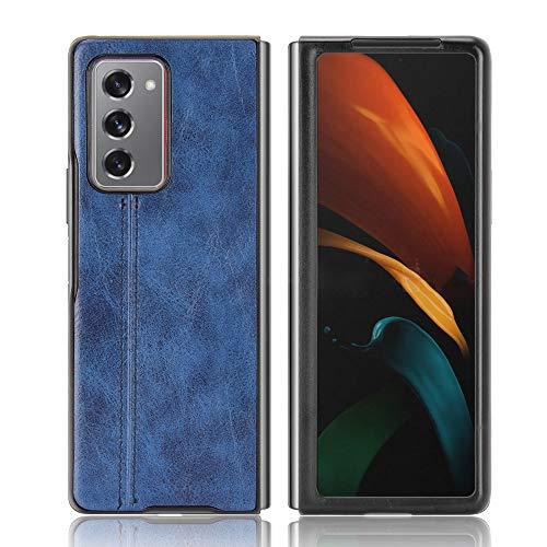 SPAK Cover Samsung Galaxy Z Fold 2 5G Custodia,Bordo in TPU Morbido + Pelle PU Caso Duro della Copertura per Samsung Galaxy Z Fold2 5G (Blu)