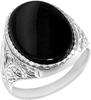 Gents Solid 925 Sterling Silver Natural Onyx Mens Signet Ring, Made in England - Sizes 6 to 13 Available