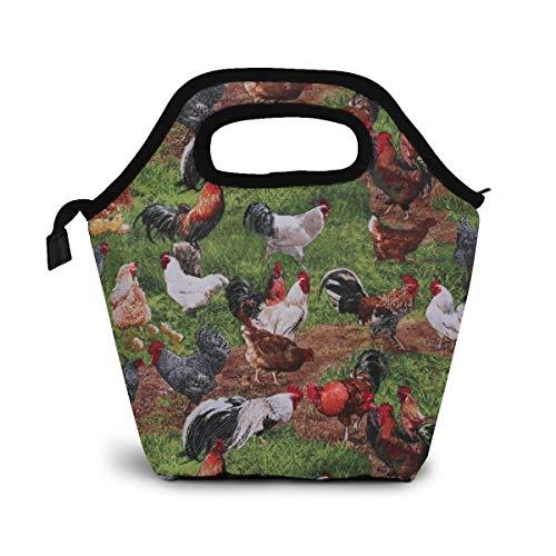 NiWCGP Vieh-Hühner-Hähne Isolierte Lunch Tasche Tote für Frauen Kids Erwachsene Lunchbox Cooler mit Reißverschluss,Jungen, Mädchen, Herren