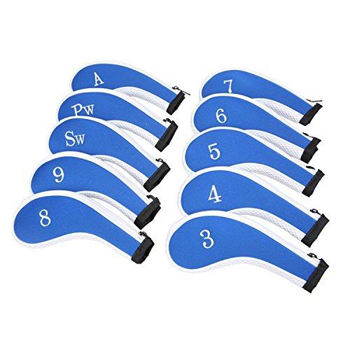 Sword &Shield sports Neoprene Zipper Golf Club Iron Head Covers Iron Covers 10pcs/Set(Blue&White)