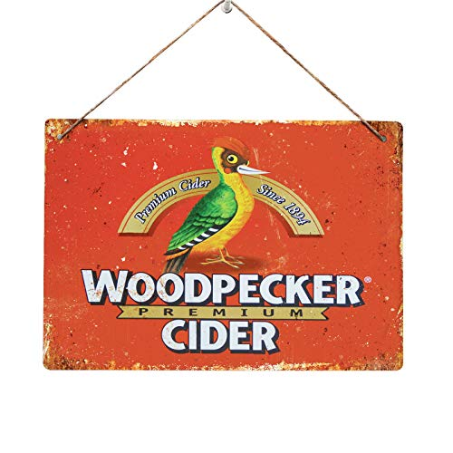 ManCave WOODPECKER CIDER - Replica Vintage Metal Wall Sign Retro Pub Bar 80s (29x20cm TWINE/STRING)