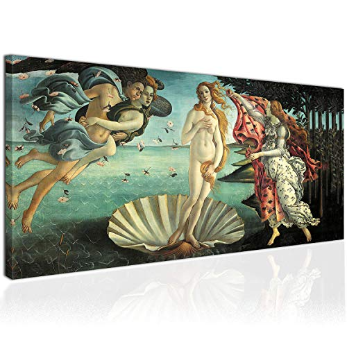 Topquadro Cuadro XXL sobre Lienzo, Imagen Panorámica 100x50cm, El Nacimiento de Venus, Diosa del Amor e Belleza - Renacimiento Botticelli - Decoración de Pared, Imagen Panorámica - Una Pieza