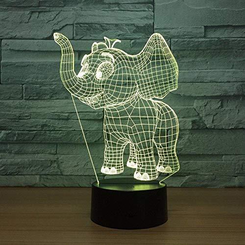 3D Illusion 7 Color Touch Happy ElephantVisual 7 colores Sensor Decoración de la habitación Luces del dormitorio Luces de noche LED para niños Niños Bebé