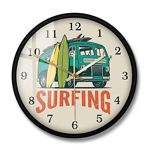LWXJK Tiempo de Surf Vintage Car Kombi Camper Van Reloj de Pared de Surf Van de Viaje de Verano y Tabla de Surf Surf Moderno Decoración del hogar Reloj silencioso-30x30CM