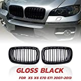 Parrilla carreras parrilla Riñón Frontal Línea Doble Rejilla Fit For El BMW X5 X6 E70 E71 2007-2013 (ABS Negro Brillante Grill, 2-Pc Set) Riñón Delantero De La Parrilla (Color : As shown)