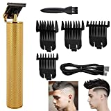 2020 Electric Usb Rechargeable Pro Li Outliner Grooming Cordless Close Cutting T-Blade Trimmer,Mens 0Mm Baldheaded Hair Clippers Zero Gapped Detail with 4 Guide Combs (gold)
