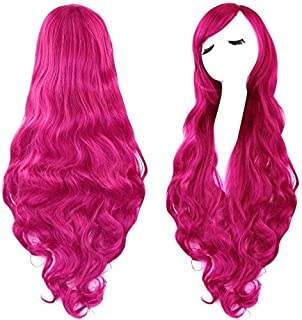 Rbenxia Curly Cosplay Wig Long Hair Heat Resistant Spiral Costume Wigs Anime Fashion Wavy Curly Cosplay Daily Party Rose Red 32
