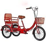 FGVDJ Pedal Triciclo para Adultos de tamaño Completo Bicicleta de 3 Ruedas Triciclo para Adultos Personas Mayores Compras Triciclo de Carga Cesta de Compras para Deportes