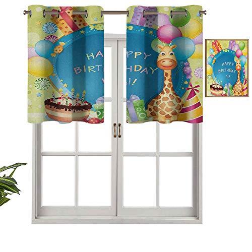 Hiiiman Cenefa de cortina con ojales de alta calidad, diseño de globos de fiesta, 137 x 45 cm para decoración de interiores