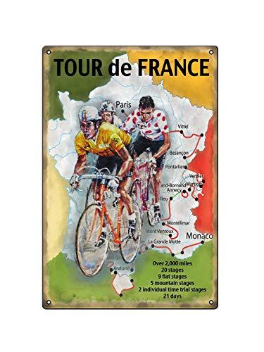 Tour de France - Cartel de metal nostálgico retro vintage publicitario, placa de pared de metal, póster de regalo, 20 x 30 cm