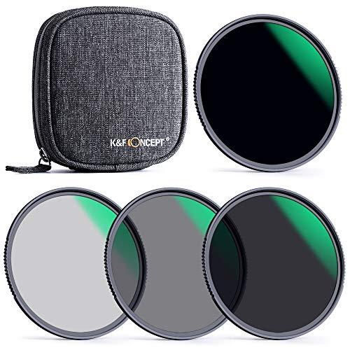 K&F Concept Packs de Filtros 77mm Filtro Densidad Neutral NANO X ND4+ND8+ND64+ND1000 ND Kit Filter