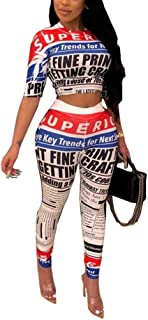 Women's Crew Neck Short Sleeve Crop Top and Pants Sets Letters Print Bodycon 2 Piece Outfit Sports Tracksuits