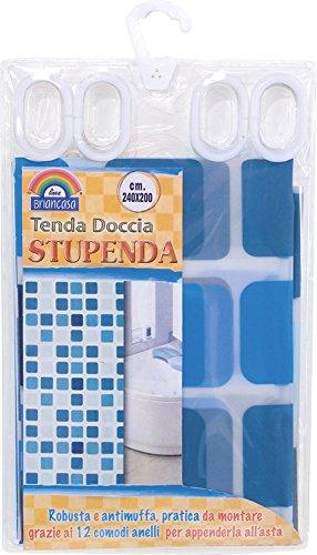 OEM SYSTEMS Tenda Doccia Plastificata Stupenda Misura240x200cm Ten01677a, Azzurro, 240x200